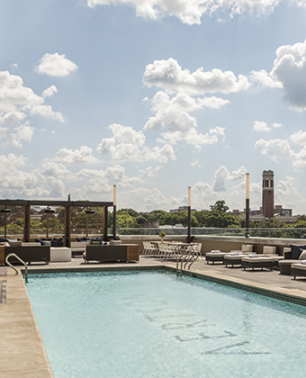 Rooftop pool with a view of Nashville